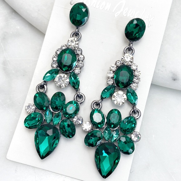 Prom Pageant Bridal Jewelry - Emerald Green Crystal Chandeliers Prom Pageant Wed